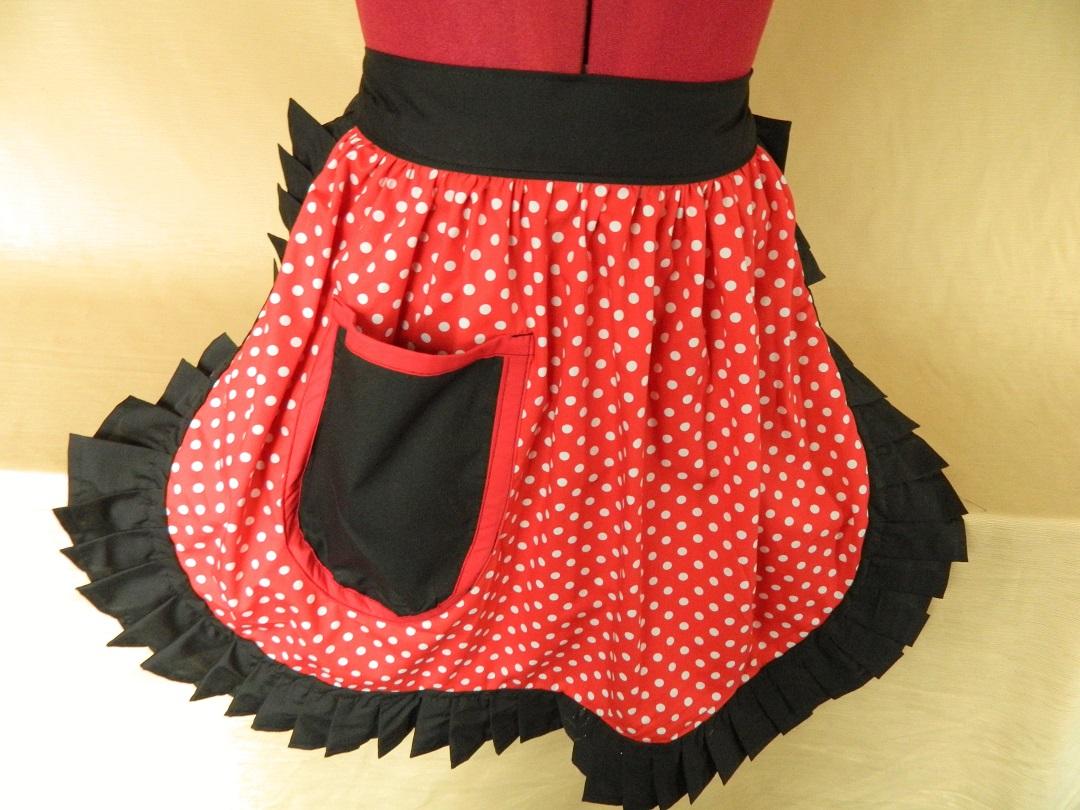 White half apron vintage - Vintage 50s Style Half Apron Red Black Polka Dot Fc002h